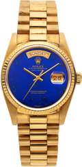 Timepieces:Wristwatch, Rolex, Rare Day-Date Lapis Lazuli Dial, 18k Gold, Ref. 18038/18000, Circa 1983. ...
