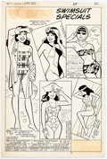"""Original Comic Art:Panel Pages, Dan DeCarlo Archie's Girls Betty and Veronica #344 """"Veronica's Swimsuit Specials"""" Pin-Up Page Original Art (Archie..."""
