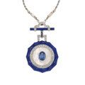 Estate Jewelry:Pendants and Lockets, Multi-Stone, Diamond, White Gold Pendant-Necklace. ...