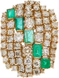 Estate Jewelry:Brooches - Pins, Emerald, Diamond, Gold Clip-Brooch. ...