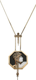 Estate Jewelry:Necklaces, Black Onyx, Mother-of-Pearl, Diamond, Gold Necklace, Erté. ...