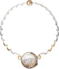 Estate Jewelry:Necklaces, Mother-of-Pearl, Diamond, Gold, Sterling Silver Brooch-Necklace, Erté. ...