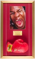 Autographs:Bats, Mike Tyson Signed Boxing Glove Framed Display. Off...