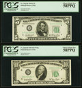 Fr. 1962-D $5 1950A Federal Reserve Note. PCGS Choice About New 58PPQ; Fr. 2010-D $10 1950 Wide Federal Reserve Note. PC...