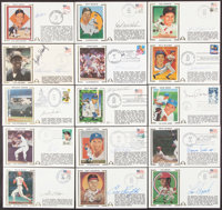 Baseball Greats Signed First Day Cover Lot of 33