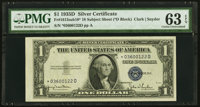 Fr. 1613N* $1 1935D Narrow Silver Certificate Star from 18-Subject Sheet. PMG Choice Uncirculated 63 EPQ