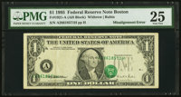 Shifted Third Printing Misalignment Overprint Error Fr. 1921-A $1 1995 Federal Reserve Note. PMG Very Fine 25