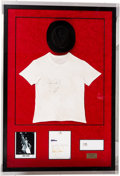 Music Memorabilia:Autographs and Signed Items, Michael Jackson Stage Worn and Signed Fedora and T-Shirt from His Bad Tour in a Shadow Box Display (1988)....
