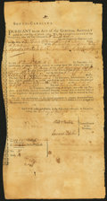 Colonial Notes:South Carolina, South-Carolina March 16, 1783 Act of the General Assembly Indented Certificate at Charlestown Fully Accomplished Uncertified G...