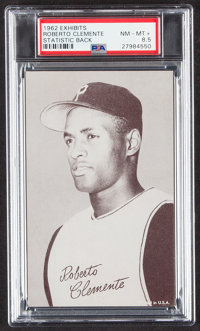 1962 Exhibits Stat Back Roberto Clemente (Black Back) PSA NM-MT+ 8.5