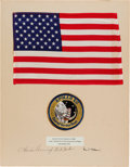 Explorers:Space Exploration, Apollo 12 Lunar Module Flown Large Size American Flag on a Crew-Signed Presentation Mat Directly from the Family Collection of...