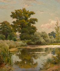 Oscar Leu (German, 1864-1942) The Pond Oil on canvas 24 x 20 inches (61.0 x 50.8 cm) Signed lo