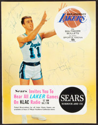 1966 Los Angeles Lakers Multi-Signed Program (12 Signatures)
