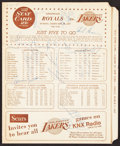 Basketball Collectibles:Programs, 1967 Los Angeles Lakers Multi-Signed Score Card (11 Signatures)....
