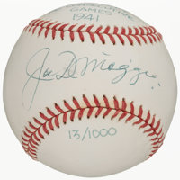 """Joe DiMaggio """"Hit Safely 56 Consecutive Games 1941"""" Single Signed Limited Edition Baseball"""