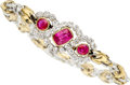 Estate Jewelry:Bracelets, Ruby, Diamond, Platinum, Gold Bracelet, Peter Lindeman. ...