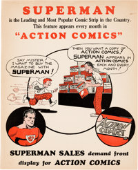 Superman in Action Comics Retailers Display Flier (DC Comics, 1939)