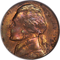 1979 5C Jefferson Nickel -- Double Denomination on a 1978 Lincoln Cent -- MS63 Red and Brown PCGS