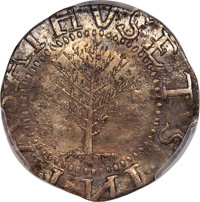 1652 SHILNG Pine Tree Shilling, Large Planchet, No Pellets at Trunk -- Repaired -- PCGS Genuine. XF Details. Noe-2, W-70...
