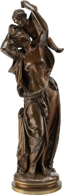 After Albert-Ernest Carrier-Belleuse (French, 1824-1887) Caresse de l'Amour Bronze with brown patina