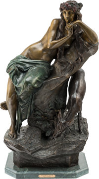 After August Kühne (German, 1845-1895) Mother Deer Patinated and cold-painted bronze 31 inches (7