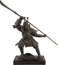 A Large Japanese Patinated Bronze Figure of a Samurai Warrior on a Black Painted Base, late 20th century 74 x 30 x