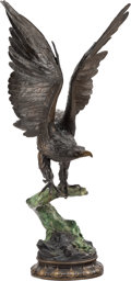 Sculpture, After Jules Moigniez (French, 1835-1894). The Eagle. Bronze with brown and green patina. 31 inches (78.7 cm). Signed J...