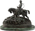 Sculpture, After Pierre Jules Mene (French, 1810-1879). Hunter with Hounds. Bronze with dark brown patina. 35 inches (88.9 cm). Sig...