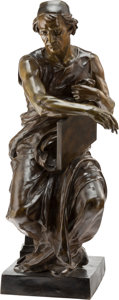 Sculpture, After Jean Jules Cambos (French, 1828-1917). Scribe. Bronze with brown patina. 28-1/2 inches (72.4 cm). Signed J. Camb...