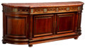 Furniture, A Monumental Louis XVI-Style Gilt Bronze and Brass Mounted Mahogany Console Cabinet with Rouge Marble Top, early 20th...