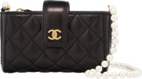 """Chanel Black Quilted Leather """"Love Symbols"""" Crossbody with Pearl Chain Condition: 2 5"""" Length x 3"""" H..."""