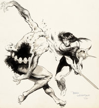 Bernie Wrightson Conan Try-Out Illustration Original Art (1970)