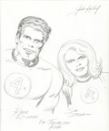 Original Comic Art:Sketches, Jack Kirby - Mister Fantastic and Invisible Girl Sketch from Heroes and Villains Sketchbook Original Art (c. 1970s...