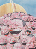 Prints & Multiples, Yue Minjun (Chinese, b. 1962). Untitled (Smile-ism No. 3), 2006. Lithograph in colors on paper. 43-1/2 x 31 inches (110....