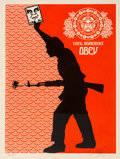 Prints & Multiples, Shepard Fairey (b. 1970). Visual Disobedience, 2004. Screenprint in colors on speckled cream paper. 24 x 18 inches (61 x...
