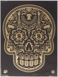 Prints & Multiples, Shepard Fairey X Ernesto Yerena. Power & Glory Day of the Dead Skull (Gold), 2014. Screenprint in gold on black wove pap...