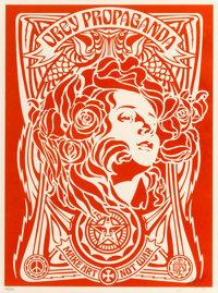 Shepard Fairey (b. 1970) Nouveau Red, 2006 Screenprint in colors on speckled cream paper 24 x 18