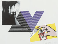 Richard Pettibone (b. 1938) Appropriation Print (with Andy Warhol, Frank Stella and Roy Lichtenstein)
