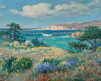 Frank M. Moore (American, 1877-1967) May Day, Big Sur Coast Oil on Masonite 24 x 30 inches (61.0 x 76.2 cm) Signed l