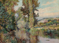 Jack Wilkinson Smith (American, 1873-1949) River in Spring Oil on canvas 21-1/4 x 28-3/4 inches (