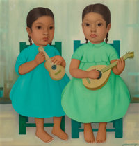 Gustavo Montoya (Mexican, 1905-2003) Ninas con Mandolina Oil on canvas 22 x 20 inches (55.9 x 50.8 cm) Signed lower