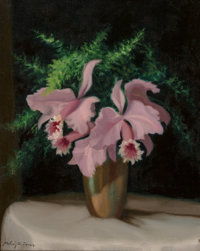 Continental School (20th Century) Still Life with Purple Flowers Oil on canvas 20 x 16 inches (50.8 x 40.6 cm) Signe