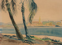 20th Century School Beach with Palm Trees Watercolor and pencil on paper 11-1/4 x 15-3/4 inches (28.6 x 40.0 cm) (sig