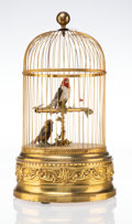 Decorative Accessories, A French Gilt Metal and Taxidermy Automaton Bird Cage, circa 1900. Marks: MADE IN FRANCE, 5313315. 19-1/2 x 11-1/4 inche...