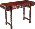 Furniture, A Chinese Carved Hardwood Altar Table, late 20th century. 33 x 48 x 16-1/2 inches (83.8 x 121.9 x 41.9 cm). ...