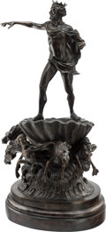 Sculpture, A Large Patinated Bronze Figural Group Featuring Neptune. 42 inches (106.7 cm). ...