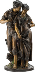 Sculpture, After Luca Madrassi (Italian, 1848-1919). Courting Couple. Bronze with brown and green patina . 28 inches (71.1 cm). Sig...