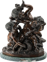 After Charles Raphael Peyre (French, 1872-1949) Mischief Bronze with brown patina 22 inches (55.9