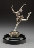 Collectible, A French Nickel-Plated Bronze Ice Skater Automobile Mascot, circa 1920. Marks: J. Dunach. 9-1/4 x 6 x 6 inch...