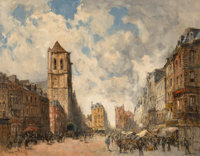 Frank Myers Boggs (French/American, 1855-1926) Le marché à Pont-Audemer Oil on canvas 28-3/4 x 36-1/4 inch...